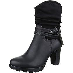 Cowboy- / Westernstiefeletten Damen Schuhe Cowboy Stiefel Pump Western Style Reißverschluss Ital-Design Stiefeletten Schwarz, Gr 40, 964-Ga-