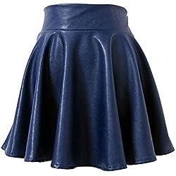 EULAGPRE Falda de Cuero de Alta Cintura para Mujer Casual Slim Acima de las Mini Faldas de la Rodilla Hembra