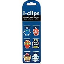 Robots i-Clips Magnetic Page Markers (Set of 6 Magnetic Bookmarks)