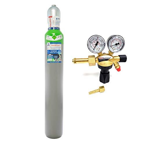 Schutzgas 10 Liter Flasche/NEUE Gasflasche (Eigentumsflasche), gefüllt mit Mischgas 82% Argon 18% Co2 /10 Jahre TÜV/EU Zulassung/PROFI-Schweißgas MAG - Import mit Druckminderer