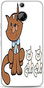 Snoogg Cute Cartoon Cat With Kittens Vector Cartoon Illustration Designer Protective Back Case Cover For HTC M9 Plus