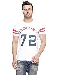 New Trendy Gespo Men'S White Printed Regular Fit Round Neck Short Sleeves T Shirt