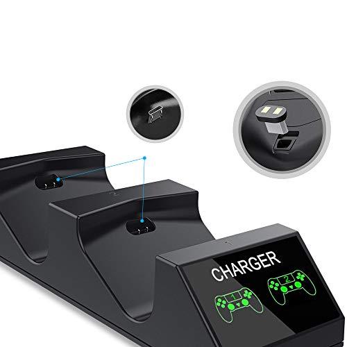 Cargador Controlador PS4,  KNONEW PS4 Stock Para Controlador DualShock 4 Estación de carga USB Base de Carga Rápida para Sony Playstation 4 / PS4 / PS4 Pro / PS4 Controlador delgado con 4 dongles de carga micro USB y 4 pinzas de palanca para pulgar Thumb