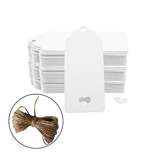 Geschenk Anhänger Papieranhänger, 200pc Hohle Herzform Kraftpapier Etiketten/Hängeetiketten mit Gratis Natürlich Jute Schnur für Weihnachten Hochzeit Geburtstag Gefälligkeiten (Weiße)