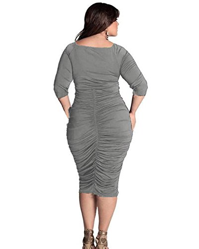 Moollyfox Femmes Grande Taille Pure Color V Neck Emballage Hip Robe Gris