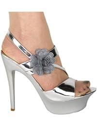 High Heels Sandelette Plateau im Italy - Design 15 cm Lack silber grau mit Blume