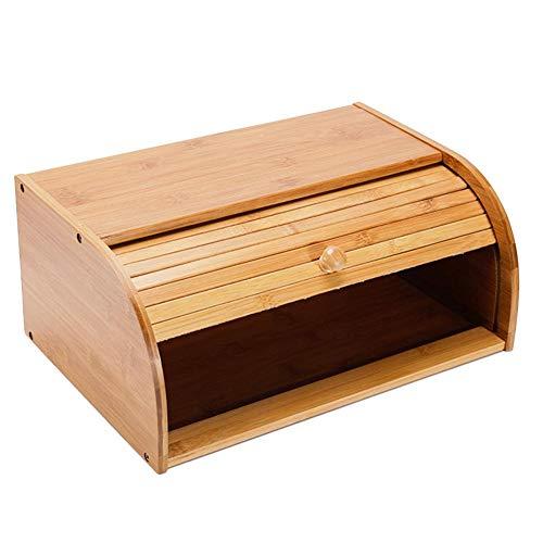 Bambus-Brotkastenhalter, große Größe Brot-Aufbewahrungsbox, umweltfreundlich, platzsparend, ideal für Brot, Gebäck, Kuchen, Rollen und Kekse (40 x 27 x 17 cm) (Küche Gelb Kanister-sets)