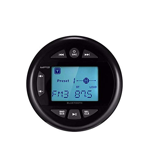Herdio Wasserdichter Marine Messgerät Stereo Empfänger Bluetooth Digital Media MP3 Player mit Audio Streaming, FM AM Radio für Boot, ATV, UTV, SPA (Marine Bluetooth Radio)