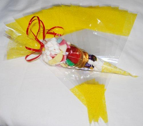 Spitztüte aus Zellophan / Zellophanbeutel, transparent mit Gelbem Muster, 0,045 mm, 36 cm x 18 cm, 25 Stück