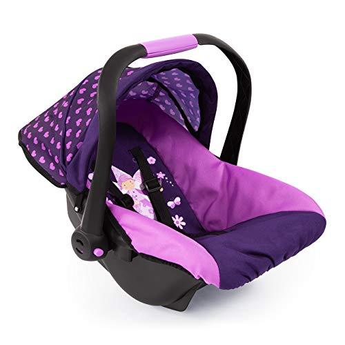 Bayer Design 67976AA Puppen-Autositz EasyGo, Puppenzubehör, passend zu Vario-Puppenwagen, mit Abdeckung, rosa, lila mit Herzenmuster und Feemotiv