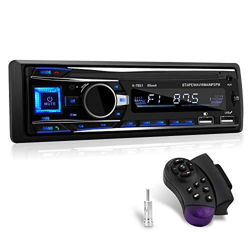 Autoradio mit Bluetooth Freisprecheinrichtung, 1 Din Autoradio Bluetooth mit USB*2/AUX/TF, FM Radio/MP3 Player mit Lenkrad-Fernbedienung