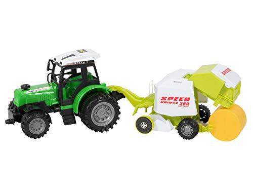 Alsino Traktor Trecker Set 51 cm groß mit Heuballen und Rundballenpresse Anhänger Kinderspielzeug