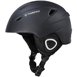 TOMSHOO Ski Casque de Snowboard Casque de sécurité certifié Casque de Ski Professionnel Snow Casque de Sport Amovible Masque intégré Lunettes intégrées (Noir, M)