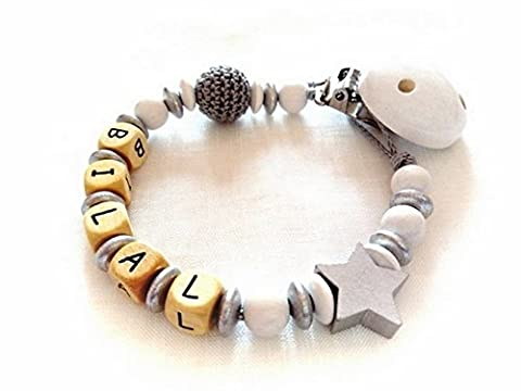 Attache tétine, attache sucette personnalisé perles en bois thème étoile argent