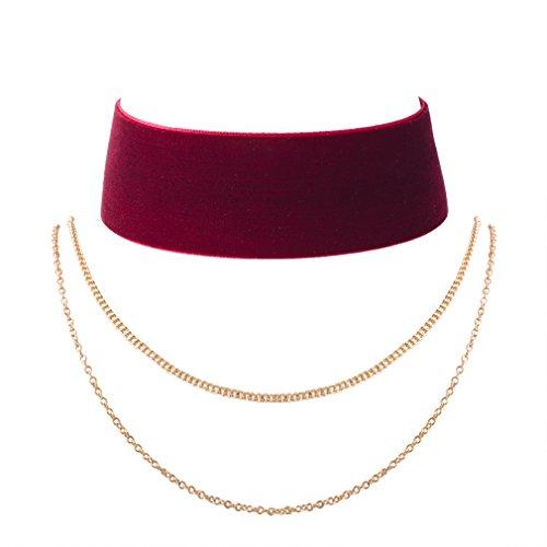 Jane Stone Collier Ras de Cou Velours Rouge Vineux Multi Rangs Choker Ruban Années 90 Vintage Chic Élégant Rétro Bijoux Fantaisie pour les Femmes et les Filles