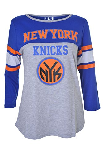 Fan Womens Raglan (UNK Damen Assist NBA Raglan Top Long Sleeve Shirt, Brooklyn Nets, Damen, FLL1479F-NY-XLarge, Grau meliert, XL)