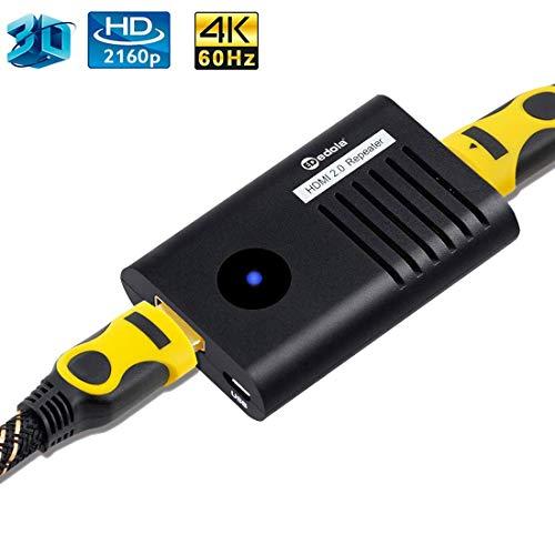edola HDMI 2.0 Repeater Verstärker | HDMI Extender Signalverstärker | Wahr 4K UHD 2160p 60Hz 3D | HDMI-Buchse zu HDMI-Buchse | bis zu 40m max. Entfernung (Hdmi-kabel Booster)