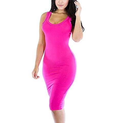 SunIfSnow Women Solid O-Neck Sleeveless Bodycon Mini Tank Dresses L