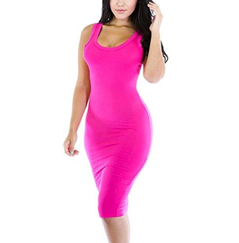 sunifsnow-damen-schlauch-kleid-einfarbig-gr-xl-hot-pink