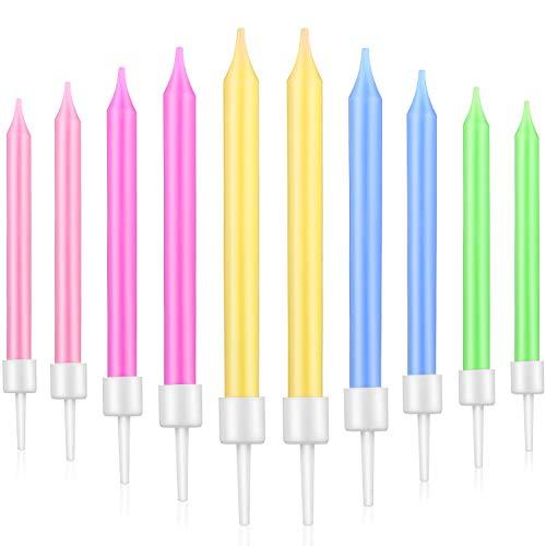 Blulu 50 Stücke Geburtstag Kuchen Kerzen in Halter Cupcake Kerzen Kurze Dünne Torte Kerzen für Geburtstag Hochzeit Party Kuchen Dekoration Lieferungen (5 Farben)