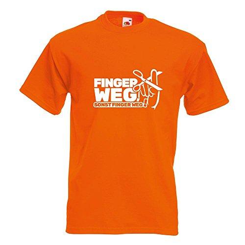 Kiwistar Finger Weg! - Nicht anfasen! T-Shirt in 15 Verschiedenen Farben - Herren Funshirt Bedruckt Design Sprüche Spruch Motive Oberteil Baumwolle Print Größe S M L XL XXL Orange