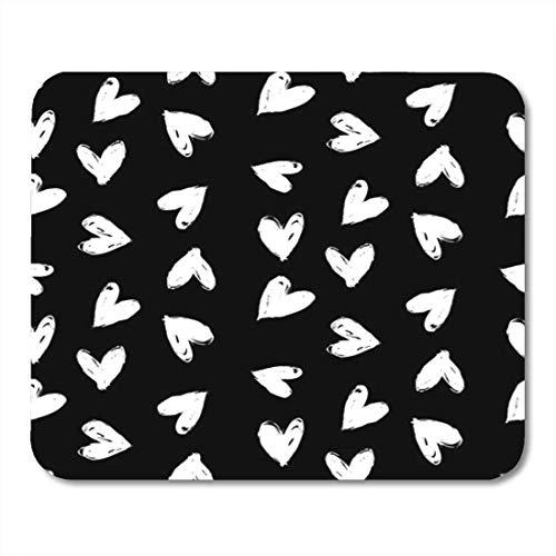 Tappetini per Mouse Grassetto Nero Geometrico con Cuori a Mano per San Valentino Tappetino per Mouse Grafico Romantico Bianco Ditsy per Notebook, tappetini per Computer Desktop