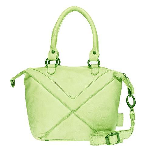 VOi Damen Mini Shopper 21074 Leder Handtasche Henkeltasche Vintage Ledertasche Schultertasche Kiwi Grün -