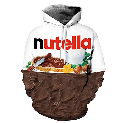 Unisex Paare Nutella mit Kapuze Sweatshirt 3D gedruckt Quick Dry Sweat Shirt Langarm Hoodie Taschen Top WY-77 (Color : Multi-Colored, Size : L/XL)