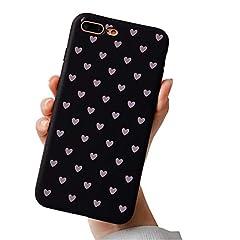 Idea Regalo - Hishiny Cover iPhone 8 Plus, Custodia iPhone 7 Plus, Ultra Sottile e Anti-Graffio Antiscivolo Silicone Custodia Cover Telefono Dipinta Custodia per iPhone 8 Plus, iPhone 7 Plus (Cuore)