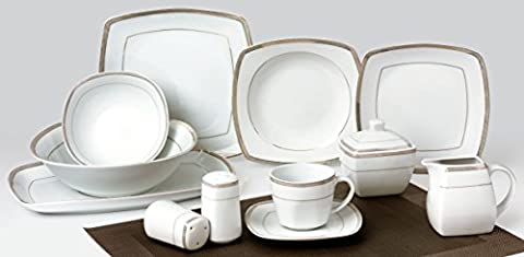 43-pcs Dinner-Set Elizabeth TK-980 with Golden Decoration, Crockery Porcelain
