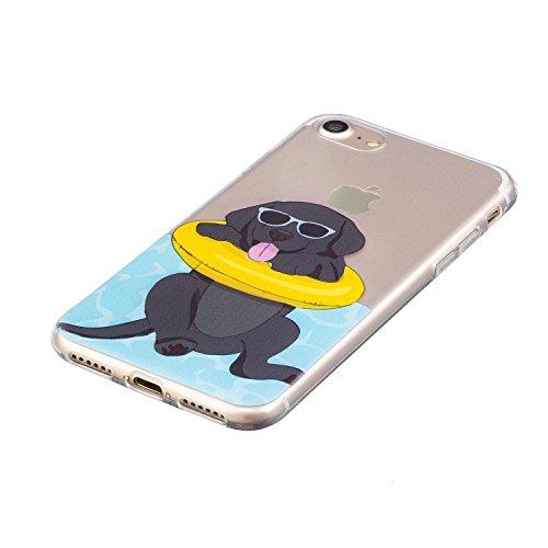 "iPhone 7 (4,7 zoll) Hülle Case, Edaroo Niedlich Lustig Karikatur Tiere Labrador Hund Welpe Muster iPhone 7 4,7"" Schutzhülle Hülle Case Cover Ultra-Transparente Felxible TPU Silikon Handyhülle Hülle mi Dog #2"