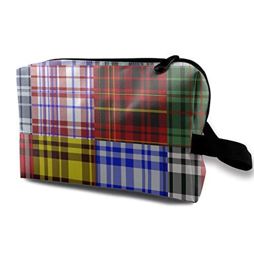 Farbe Plaid Kosmetiktaschen Make-up Veranstalter Tasche Reißverschluss Geldbörse Handtasche Clutch Bag - Brown Plaid Bow