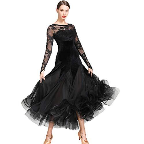 CX Nationalen Standard Ballkleider Für Frauen Wettbewerb Kostüm Samt Spitze Stitching Social Kleid Tango Moderne Ballsaal Tüll Rock (Farbe : Schwarz, größe : L) (Spitze Samt Kostüme)
