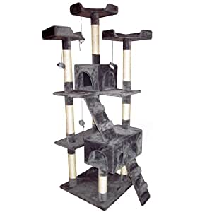 Katzen Kratzbaum mittelhoch ca. 170cm (grau) mit vielen Spiel und Kuschelmöglichkeiten