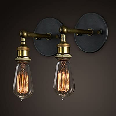 Vintage Wall Lights Copper Head, Adjustable Wall Sconce Lamp Retro Edison Brass Light Head with E27 Socket for House, Bar, Restaurants, Coffee Shop, Club Decoration (2 Packs , Bulbs not Included) - low-cost UK light shop.