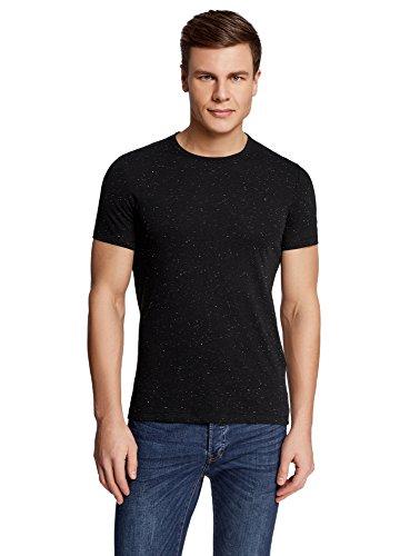 oodji Ultra Homme T-Shirt Droit en Maille Chinée, Noir, FR 46-48 / S