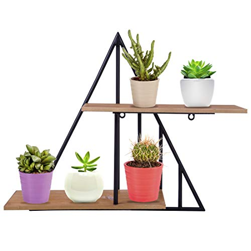 Dittzz Wandregal aus Metall, Dreieck Vintage Regal Dekorative Hängeregal ideal für Arbeitszimmer, Büro, Schlafzimmer,Wohnzimmer, Küche, Flur