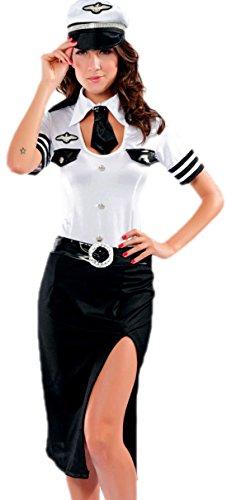 erdbeerloft - Damen Karneval Kostüm Pilotin Stewardess Flugbegleiterin, schwarz weiß, 36/38 (Pilot Und Flugbegleiterin Kostümen)