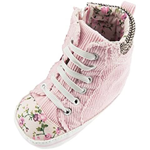 Elegante per bambina, con suola morbida, in velluto, motivo: Giardino inglese, motivo floreale rosa, scarpe alte