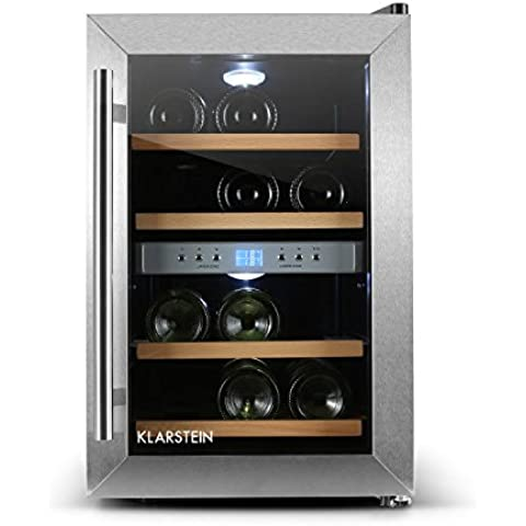 Klarstein Reserva vinoteca (12 botellas, 34 litros, acero inoxidable, iluminación LED, puerta cristal doble aislamiento, 4 estantes madera extraíble, panel LED, temperatura