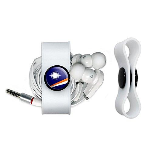 Land Marshall-inseln (Die Marshall Inseln National Land Flagge Kopfhörer Kopfhörer Cord Wrap–Ladekabel Manager–Draht Organizer Set–Weiß)