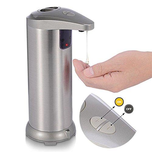 Automatischer Seifenspender, Berührungslose batteriebetrieben Elektrische Automatische Sensor Seifenspender Hände frei beständig Edelstahl Seifenspender für Küche Badezimmer