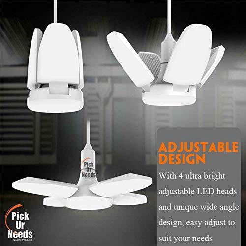 Pick Ur Needs® B22 Foldable Light, Fan Blade LED Light Bulb, Super Bright Angle Adjustable Home Ceiling Lights, AC95-265V, Cool White Light (60) (5 Blade (60Watt))