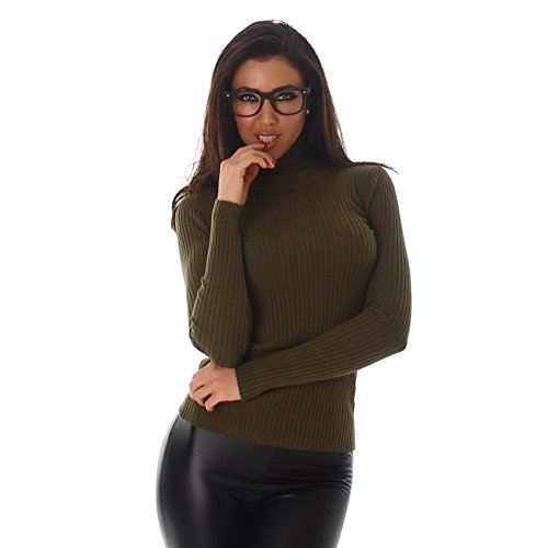 VOYELLES Damen Pullover mit langen Ärmel und einem eleganten V-Ausschnitt, in vielen Farben erhältlich, Größe 34-38 Grün