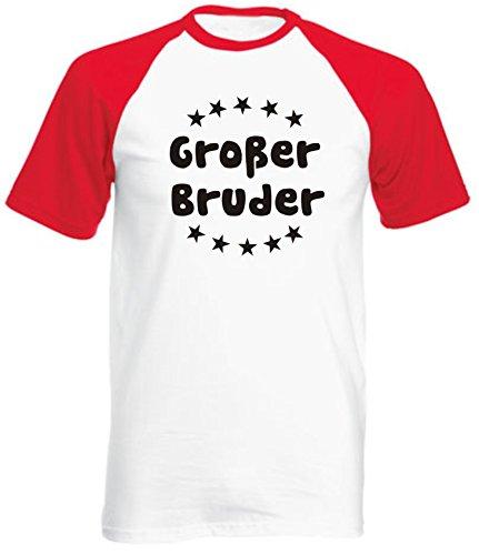 Kinder Baseball T-Shirt Großer Bruder / Größe 98 - 164 Farbe: weiss/rot