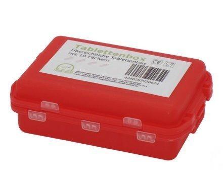 1 x Medikamentenbox Tablettenbox Pillenbox Tablettendose Pillendose Farbe: rot