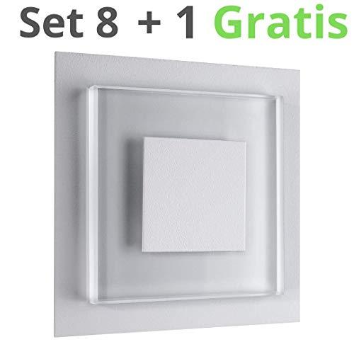 8er SET LED Treppenbeleuchtung Premium SunLED DUO 230V 1W Glas Hochwertig Wandleuchten Treppenlicht mit Unterputzdose Treppen-Stufen-Beleuchtung Wandeinbauleuchte (Warmweiß, Alu: Silbergrau) -