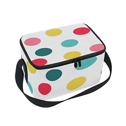 Alaza Plaid Polka Dot à carreaux Sac à déjeuner isotherme Box Cooler Sac fourre-tout réutilisable Sac extérieur Voyage Sac de pique-nique, Aluminium, blanc, 10x7x6 inches