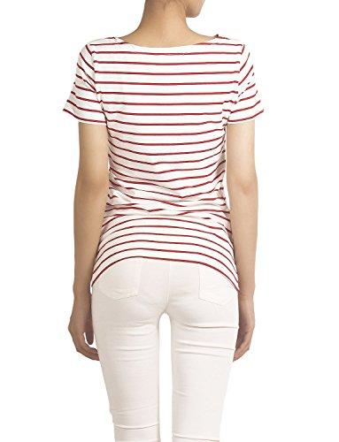 iB-iP Damen Baumwolle Gemischt Marine Streifen Muster Runde Hals T-Shi T-Shirt Rot & Weiß