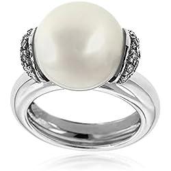 Gioiello Italiano - Anillo en oro blanco con perla australiana y diamantes